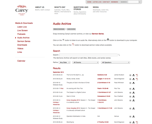 Carey Baptist Church website